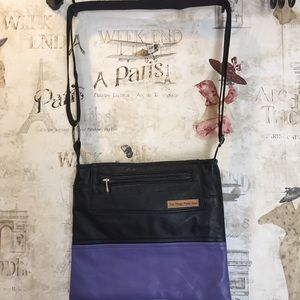 Old Things Made New Black and Purple crossbody bag